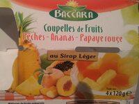Coupelles de Fruits Pêches - Ananas - Papaye rouge au sirop léger - Produit - fr