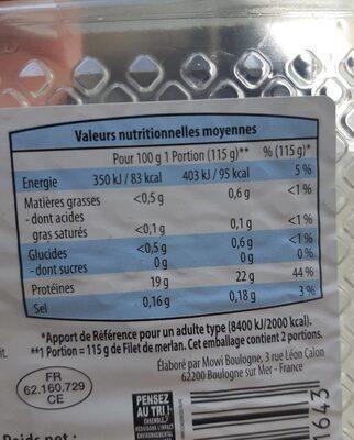 Filet de merlan - Valori nutrizionali - fr