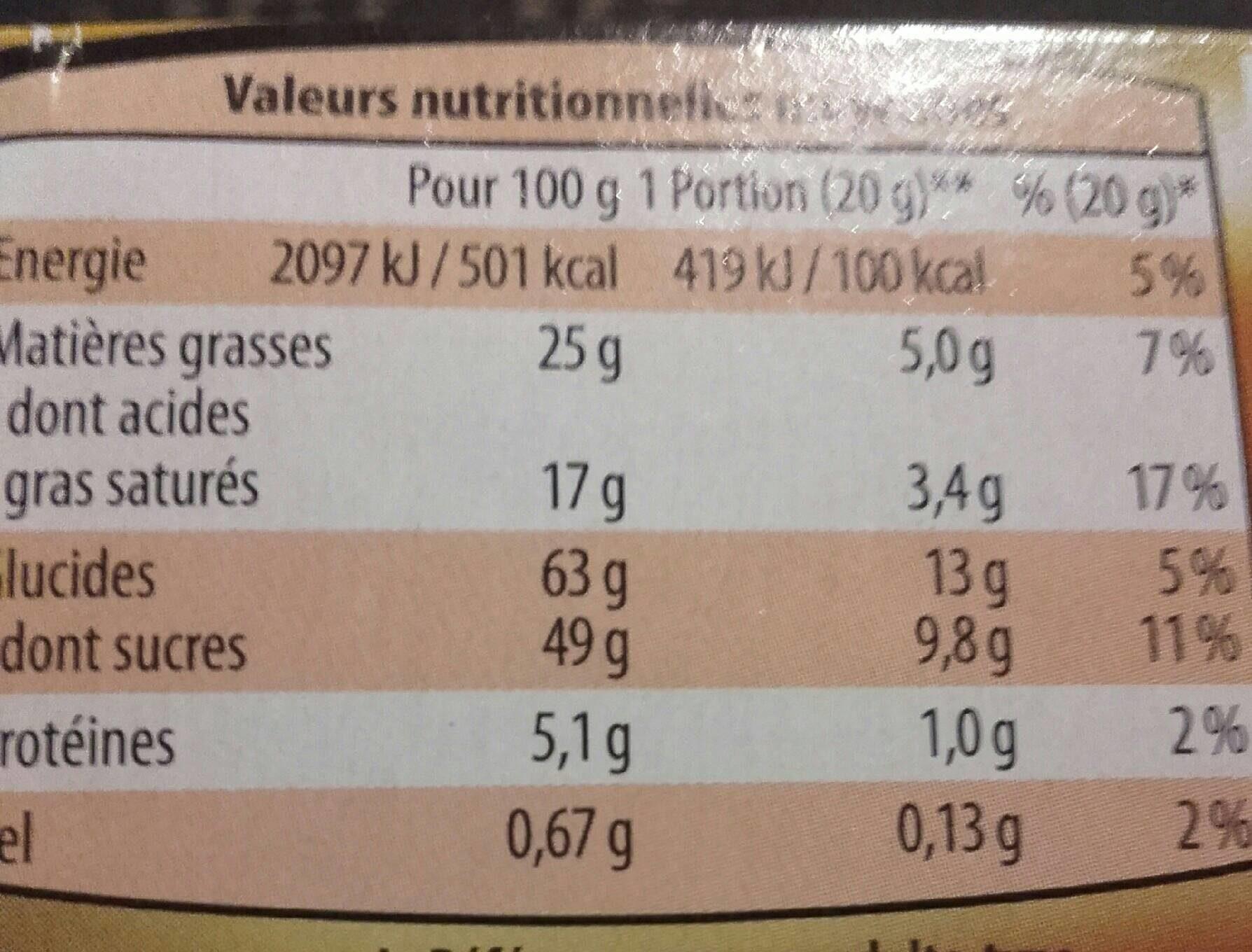 Flûtes framboise - Voedingswaarden - fr