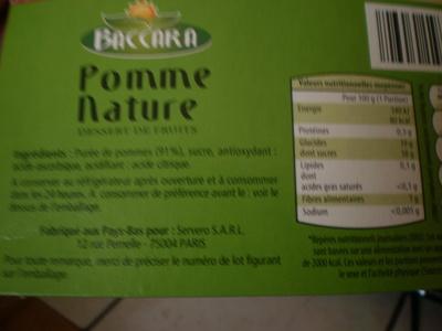 Compote de Pommes ou Compote Pommes Bananes - Nutrition facts - fr