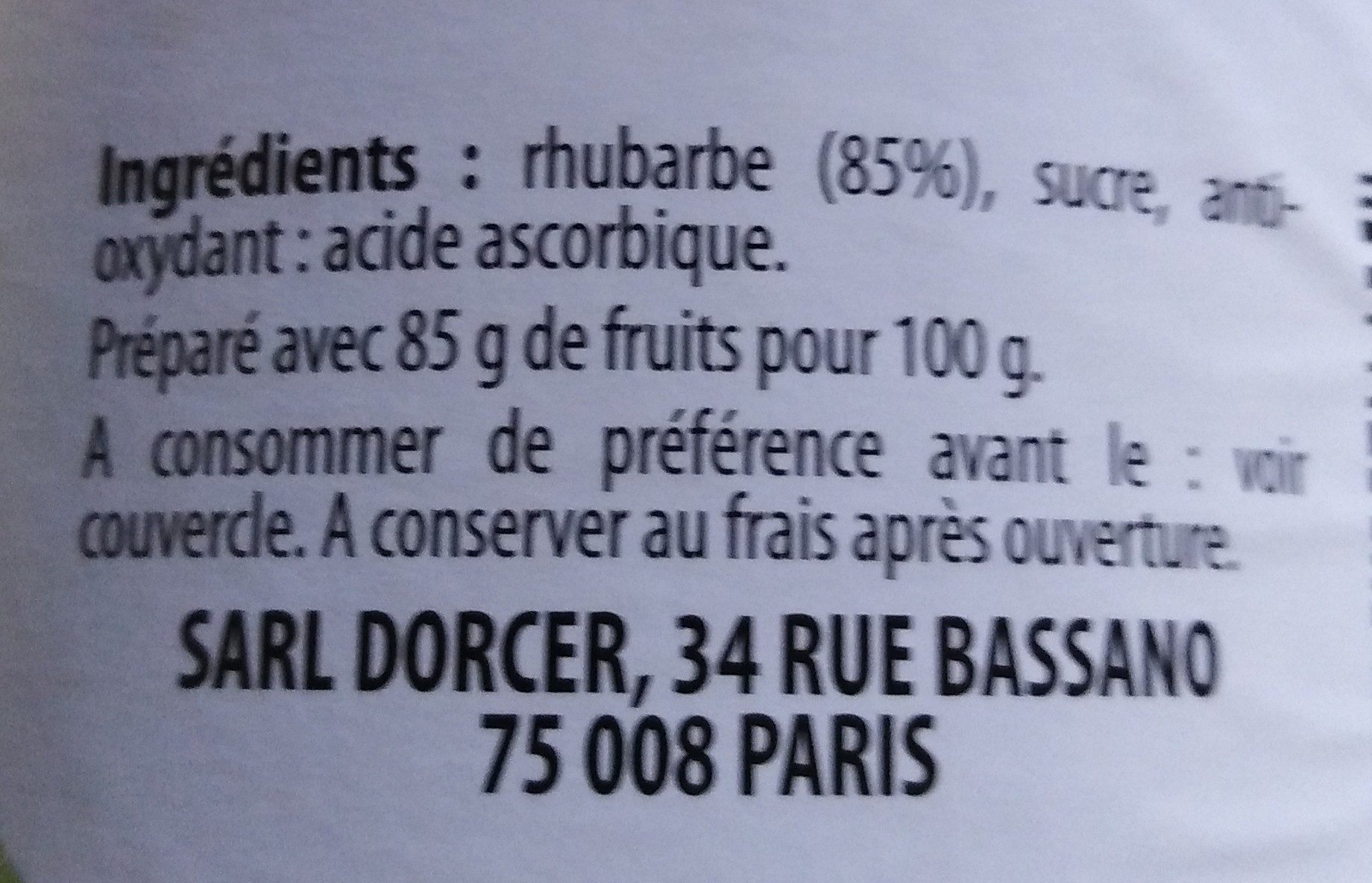 Compote de Rhubarbe - Ingredients - fr