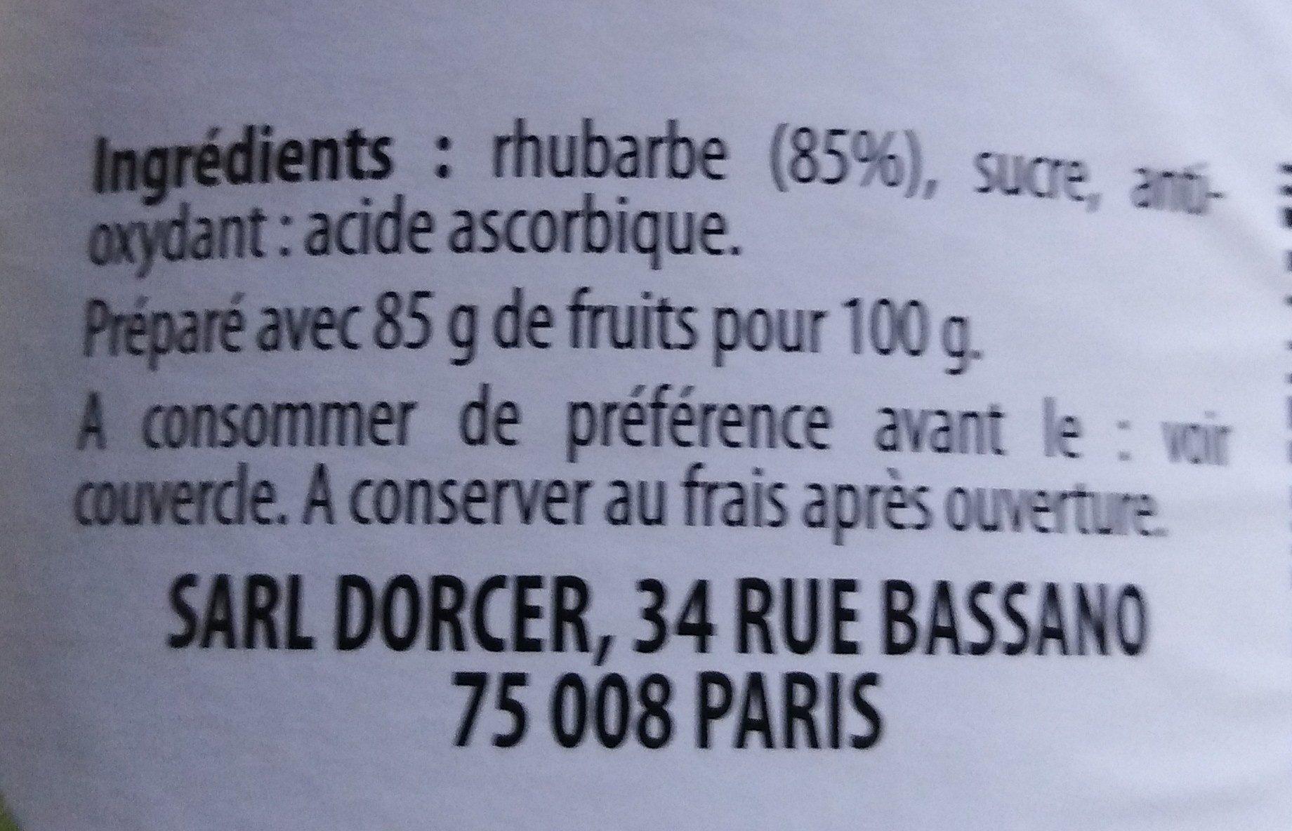 Compote de Rhubarbe - Ingredients