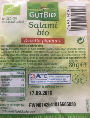 Salami bio - Informations nutritionnelles - fr