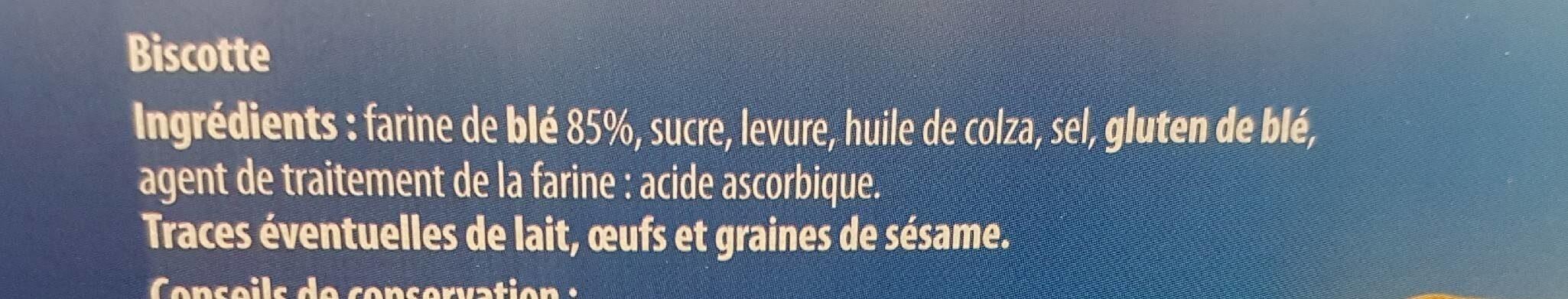 Biscotte 100 tranches au froment - Ingrediënten - fr