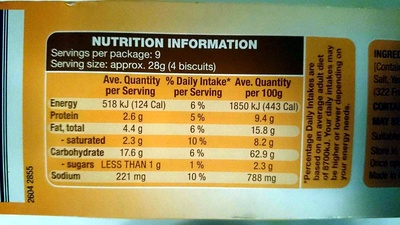 Biscotte 100 tranches au froment - Nutrition facts - en