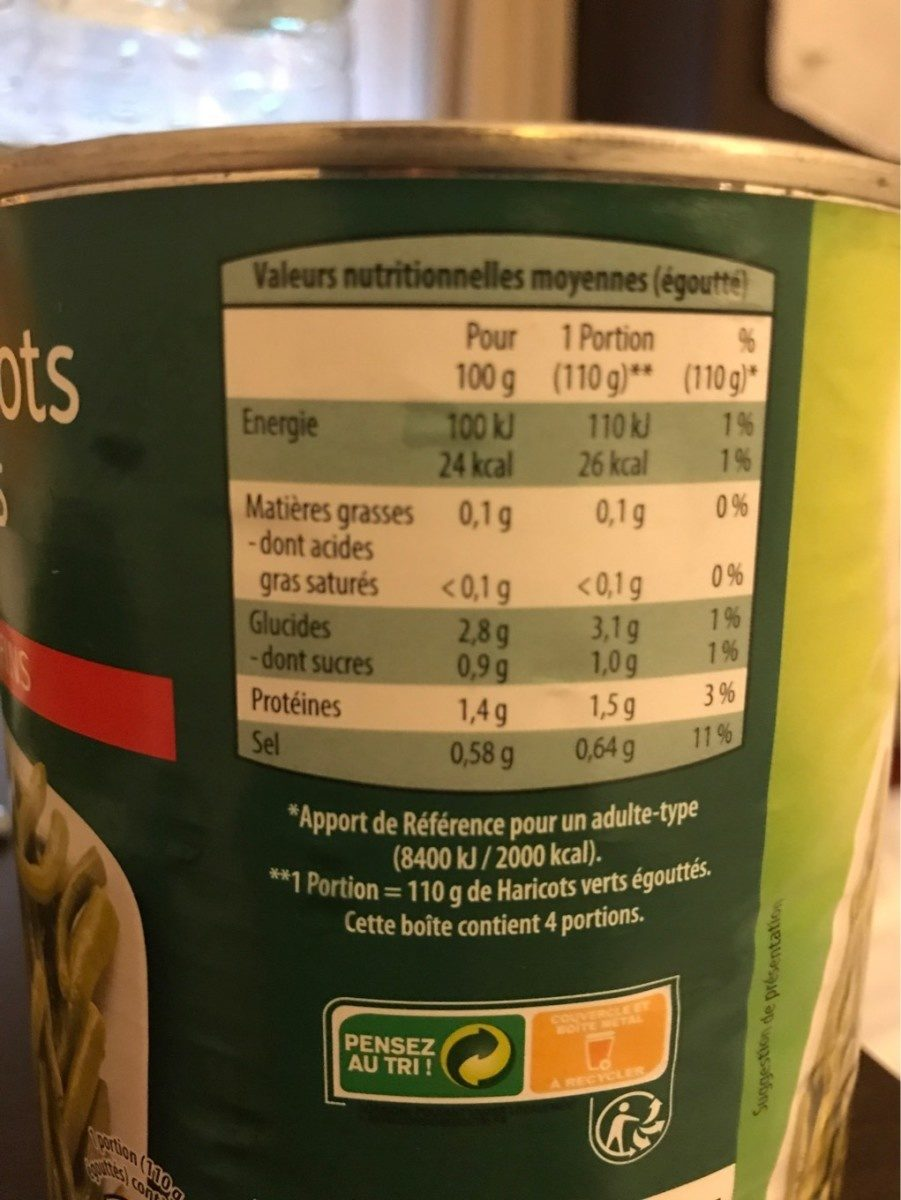 Haricots Verts, Extra Fins - Nutrition facts - fr