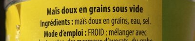Maïs Doux en Grains Sous Vide - Ingredients - fr