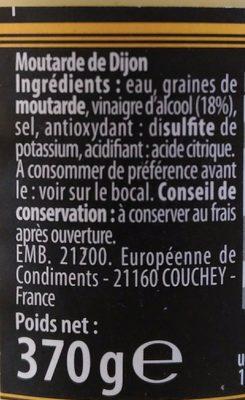 Moutarde de dijon au vinaigre - Ingrédients - fr