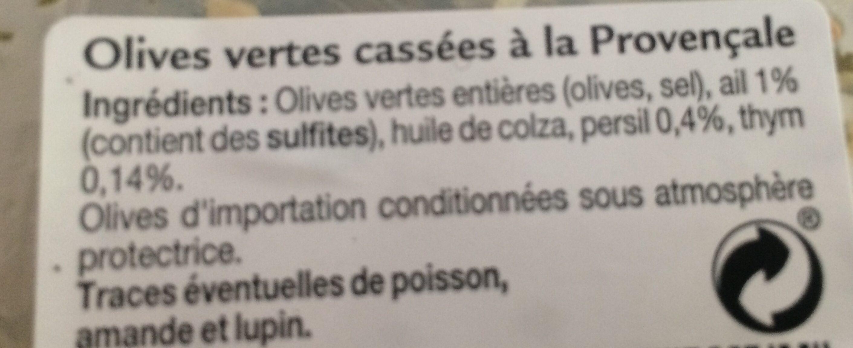 Olives vertes casses a la provençale - Ingrédients