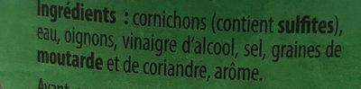 Cornichons extra-fins - Ingredients - fr