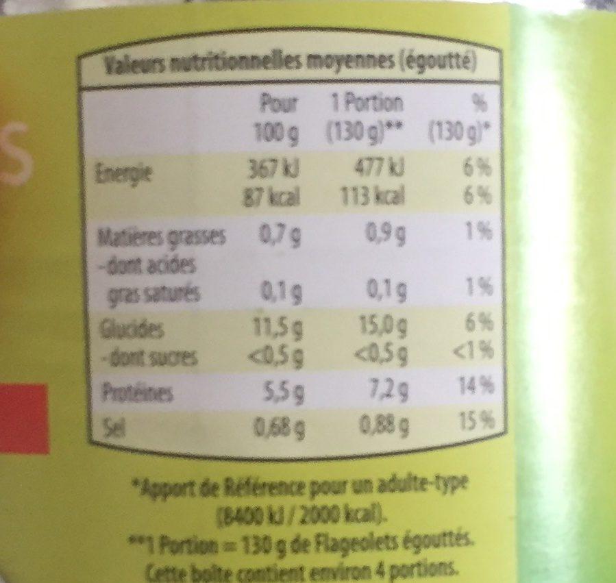 Flageolets Verts Extra Fins Fleurs Des Champs 530 g - Voedingswaarden - fr