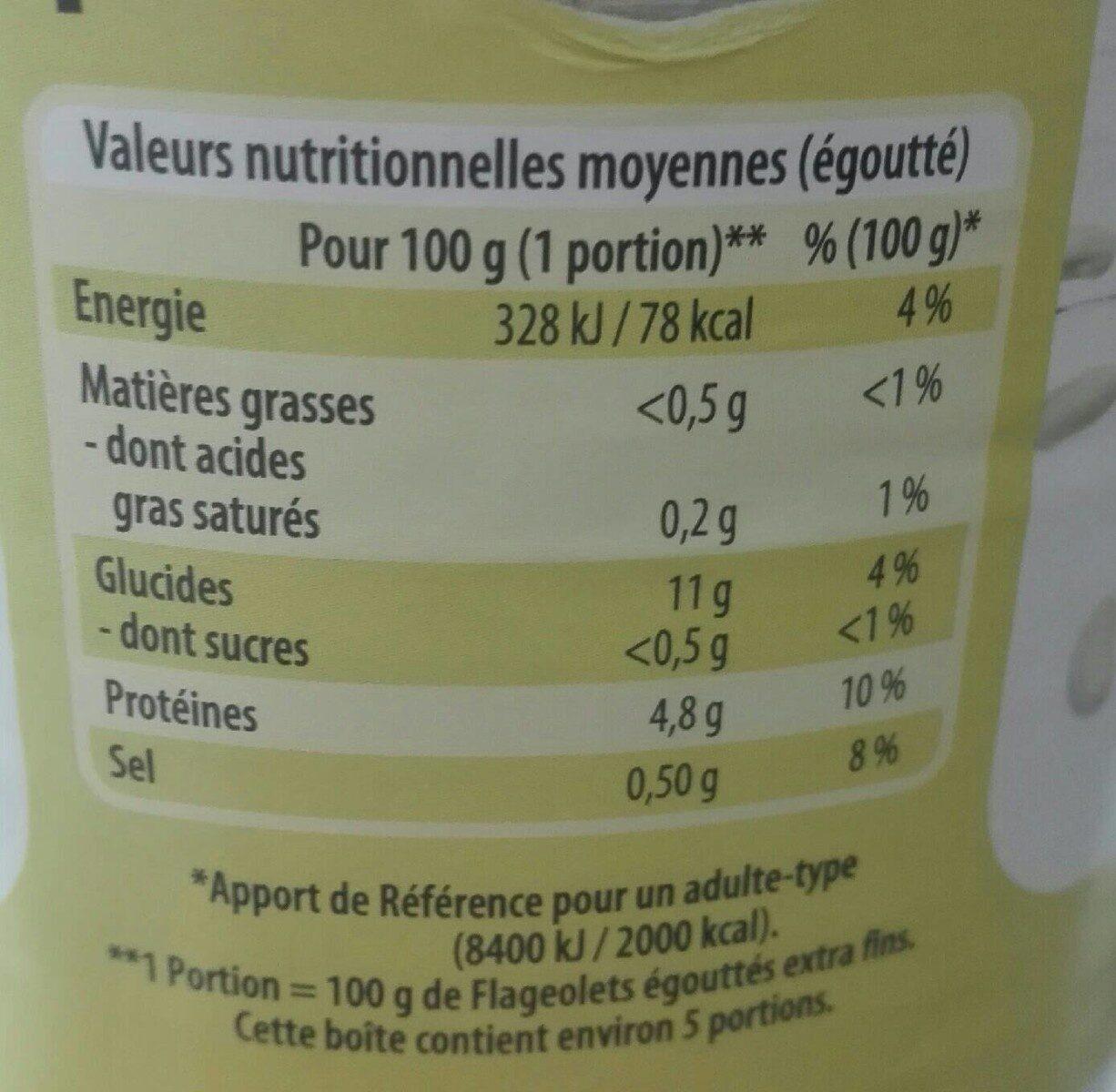 Flageolets Verts Extra Fins Fleurs Des Champs 530 g - Informations nutritionnelles - fr
