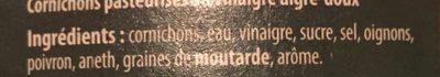 Cornichons croquants aigre doux - Ingrédients