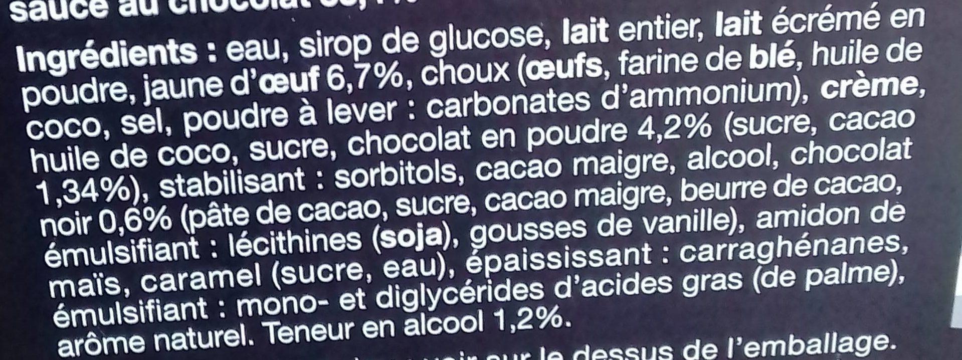 Profiteroles à la Crème Pâtissière et Sauce au Chocolat - Ingredients - fr