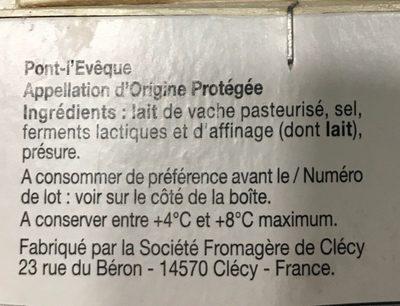 Pont-l'Évêque - Ingrédients - fr