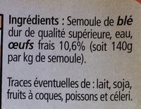 Tagliatelles Pâtes fraîches aux œufs frais - Ingrédients - fr