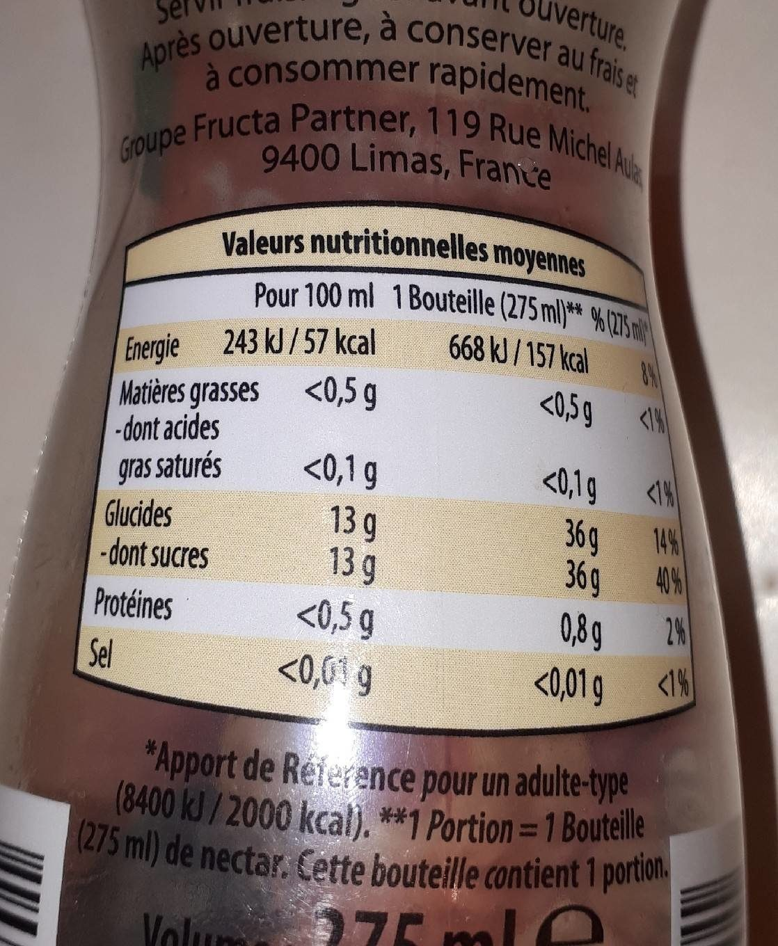 Nectar d'ananas - Informations nutritionnelles - fr