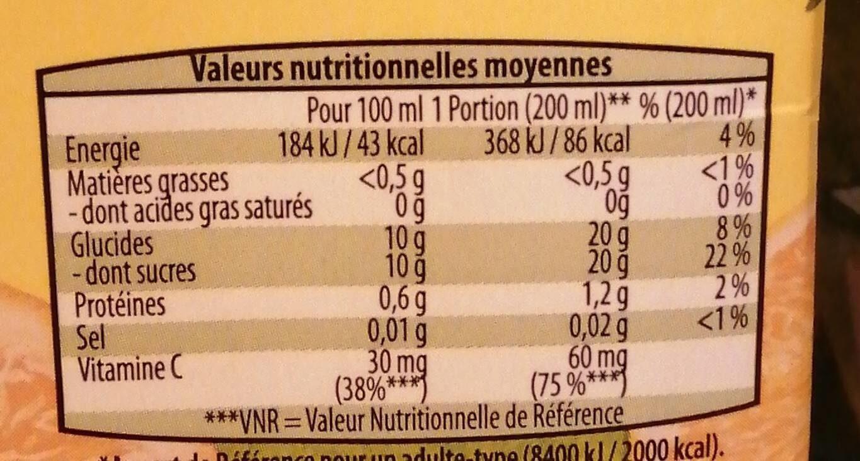 Jus d'orange - Informations nutritionnelles - fr