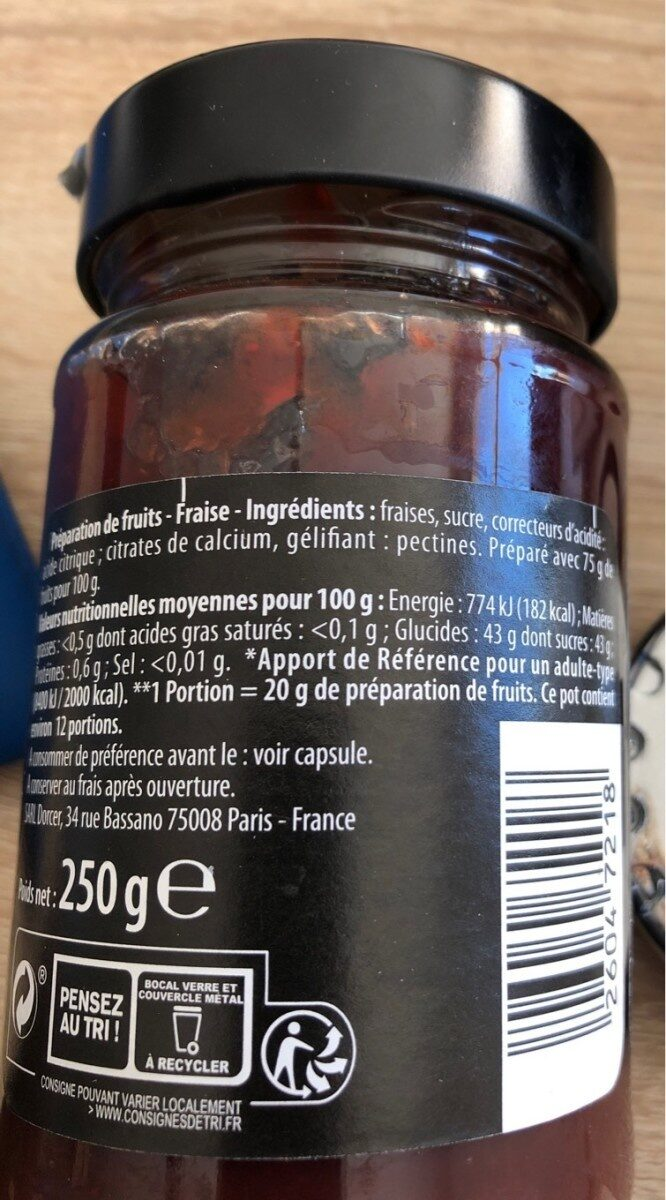 Preparation de fruits - fraise - Informations nutritionnelles