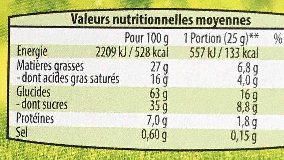 Biscuit Tablette chocolat au lait - Informations nutritionnelles - fr