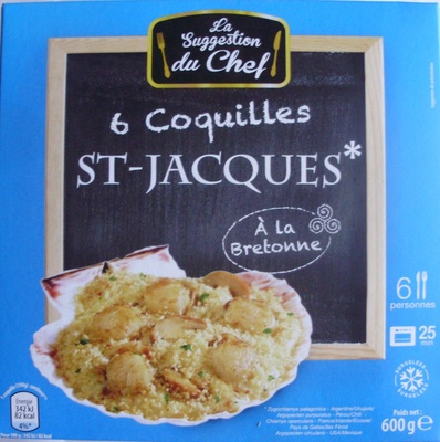 6 coquilles st jacques la bretonne surgel es la suggestion du chef 600 g 6 personnes. Black Bedroom Furniture Sets. Home Design Ideas