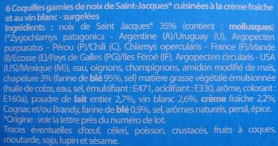 6 Coquilles St-Jacques* à la Bretonne, Surgelées - Ingrédients - fr