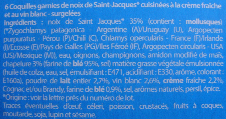 6 Coquilles St-Jacques* à la Bretonne, Surgelées - Ingredients - fr