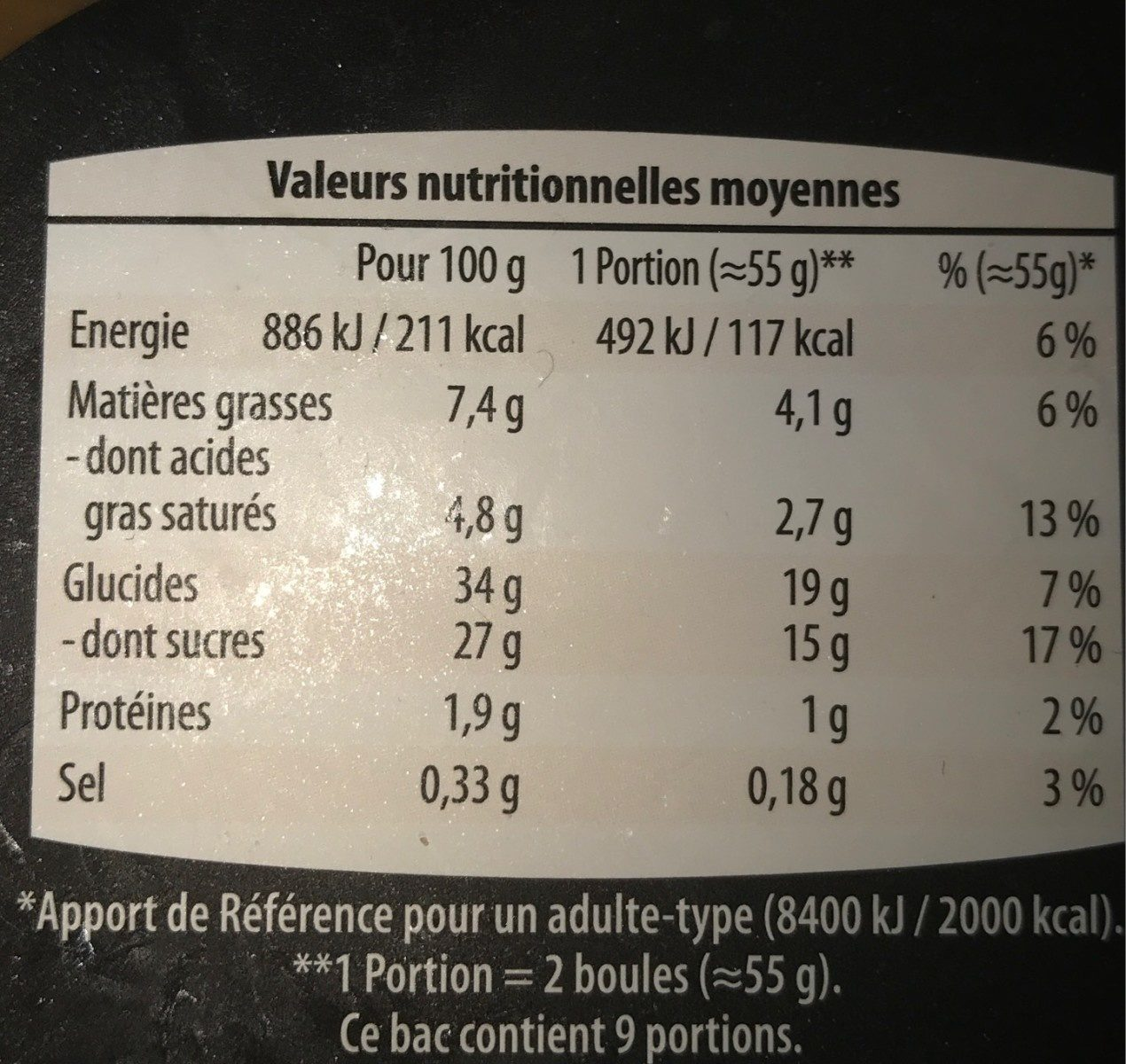 Glace vanille sauce caramel - Voedigswaarden