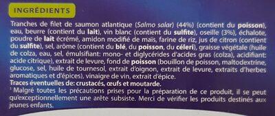 Saumon atlantique sauce oseille, Surgelé - Ingredients