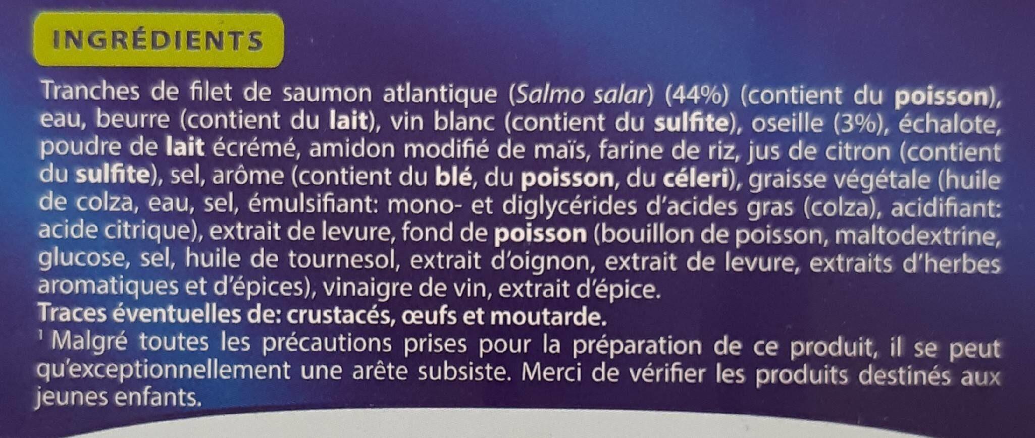 Saumon atlantique sauce oseille, Surgelé - Ingrediënten