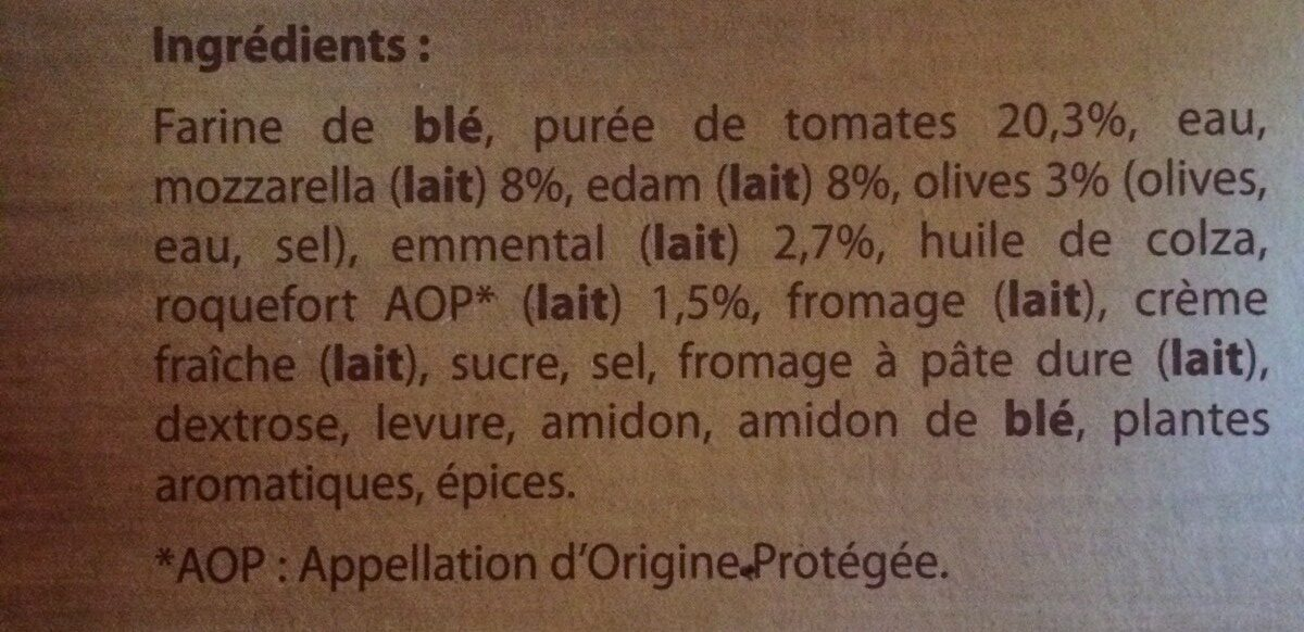 Pizza cuite sur pierre 4 fromages - Ingredients - en