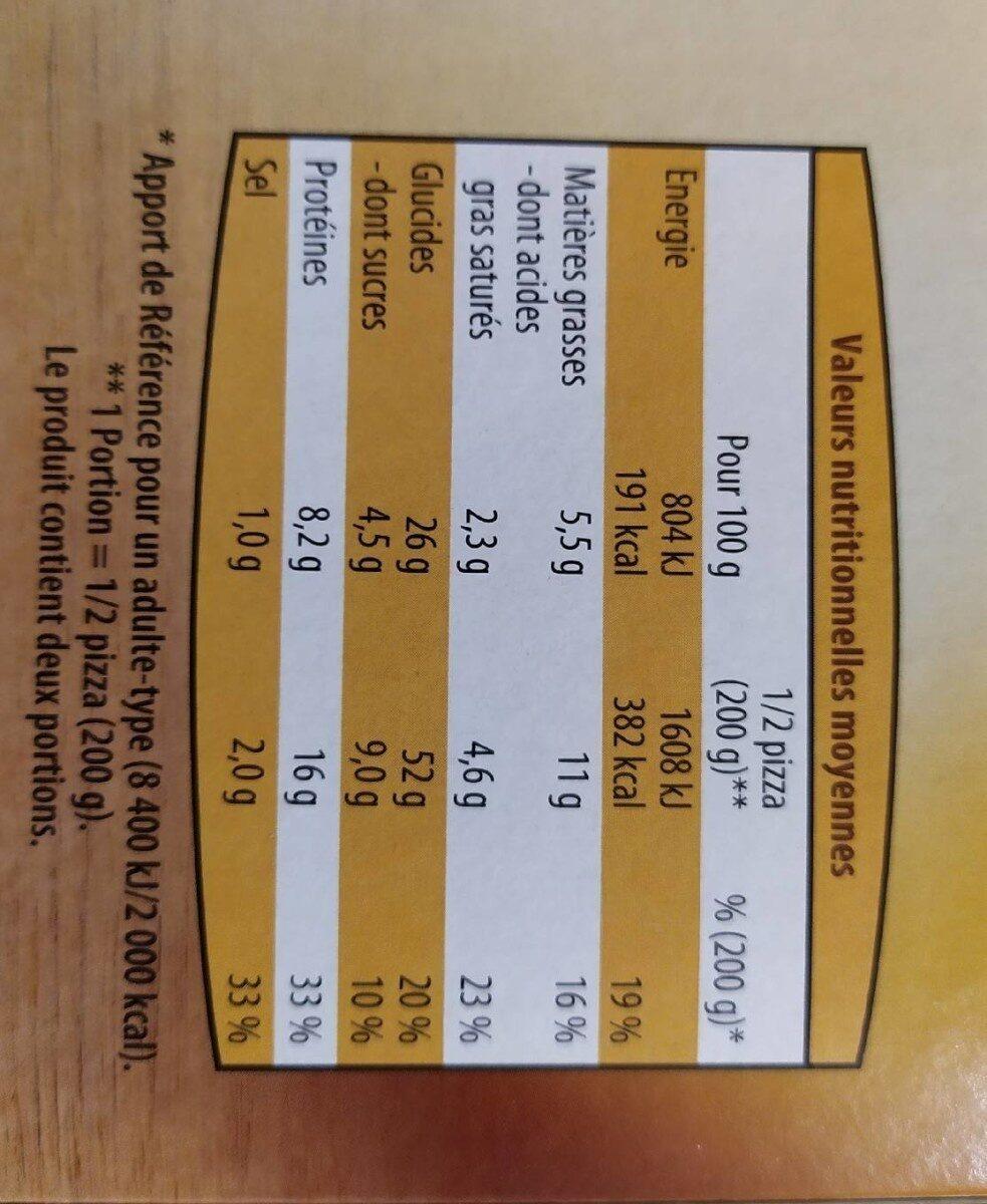 Pizza cuite sur pierre - Nutrition facts - fr