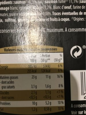 Terrine de la Mer - Saumon - Nutrition facts