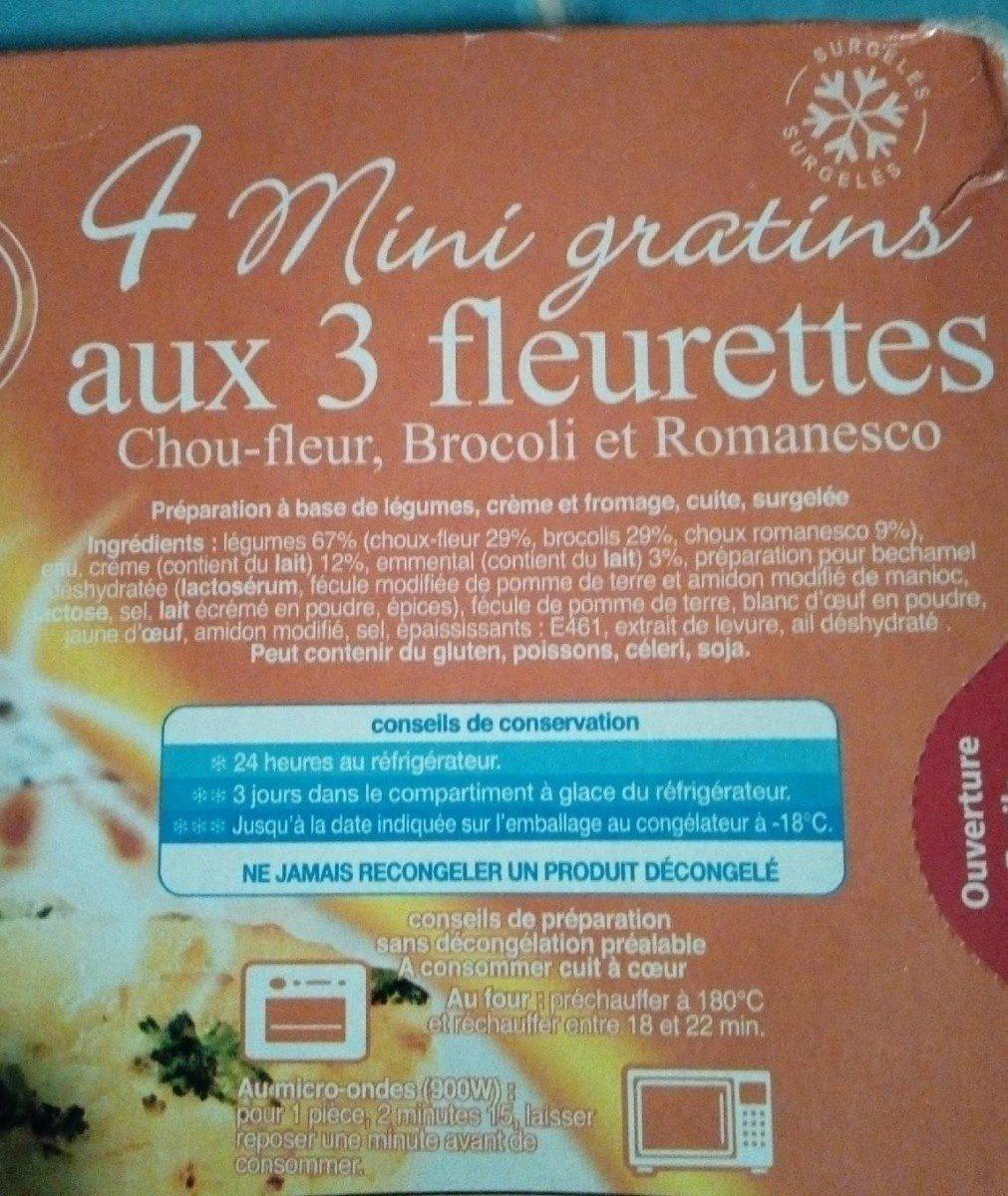 4 mini gratins aux 3 fleurettes - Inhaltsstoffe - fr