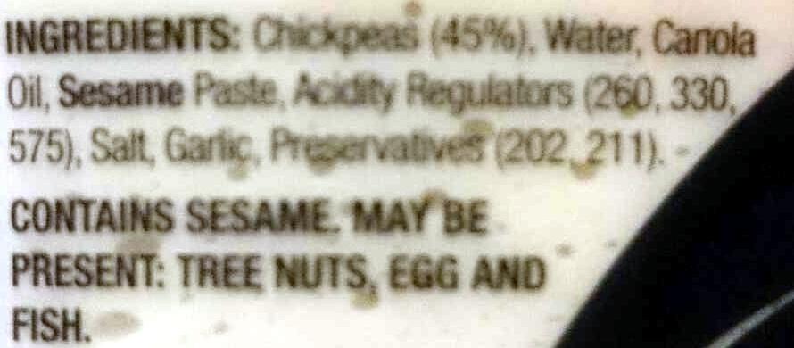 Hommus Dip - Ingredients