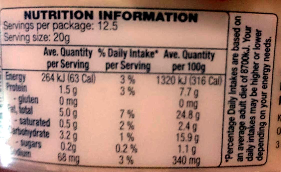 Hommus Dip - Nutrition facts