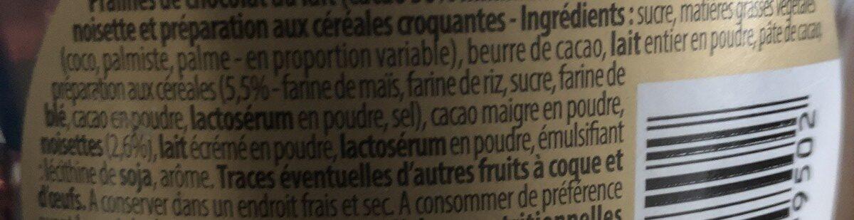 Pralines croustillantes - Ingrédients