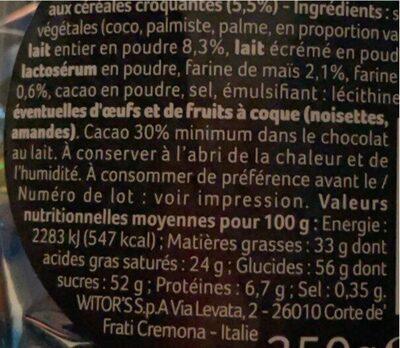 Pralines croustillantes - Informations nutritionnelles - fr