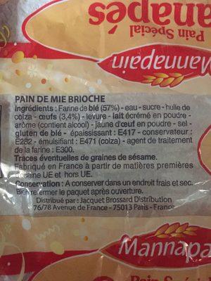 Toast brioché (Pain Spécial Canapés) - Ingrédients - fr