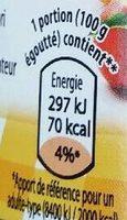 Macédoine de fruits - Informations nutritionnelles