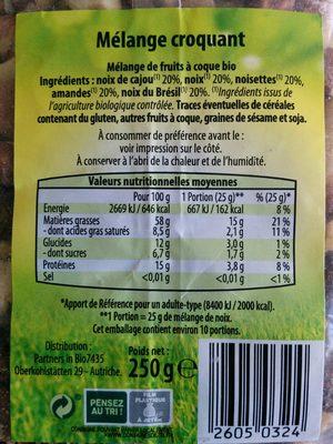 Noix de cajou & cranberries - Informations nutritionnelles