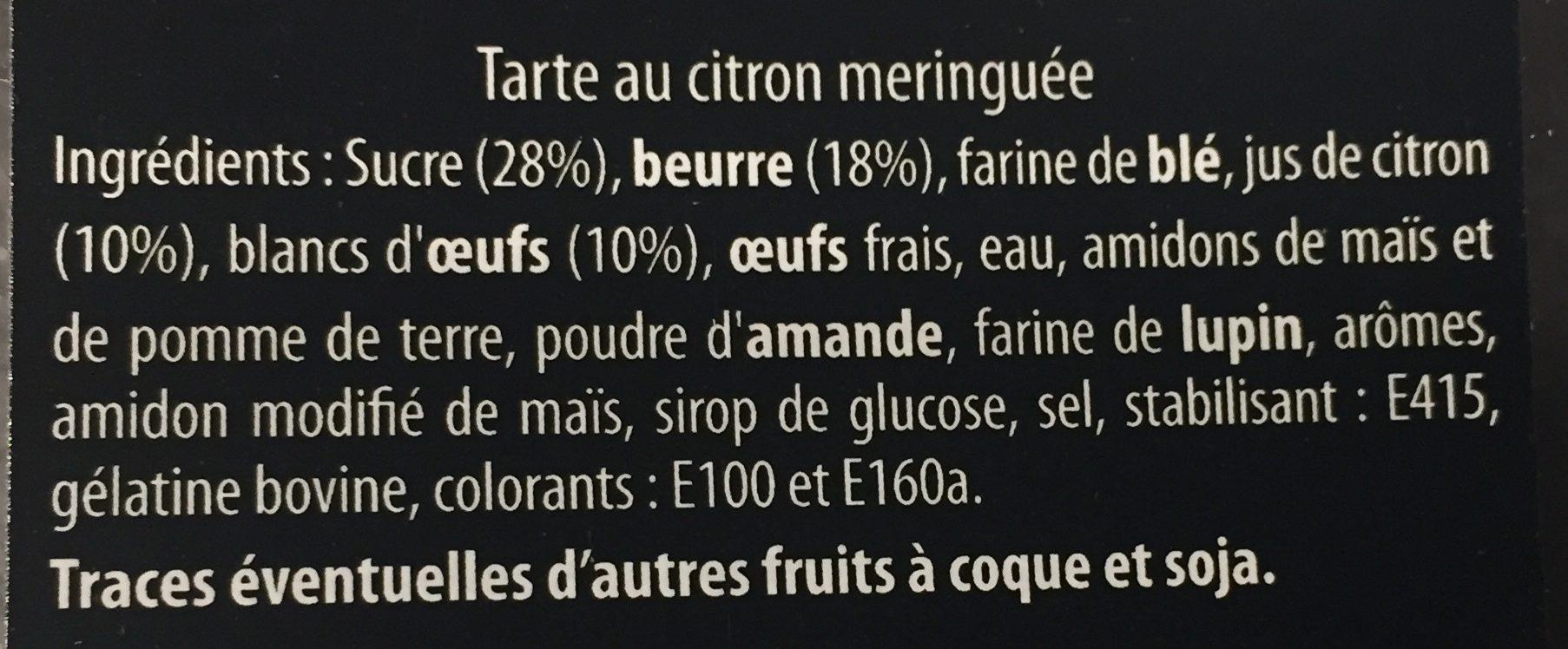 Tarte au citron meringuée - Ingrédients - fr