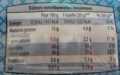 Gaufres Fourrées à la Vanille - Nutrition facts - fr
