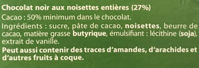 Chocolat noir et noisettes - Ingrédients