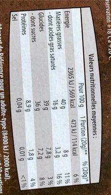 Chocolat noir et noisettes - Informations nutritionnelles