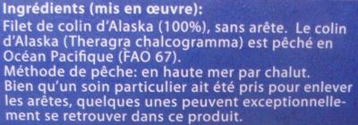 4 Tranches de filets de colin d'Alaska, Surgelé - Ingrédients - fr