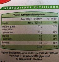 10 steaks hachés pur boeuf - Informations nutritionnelles - fr