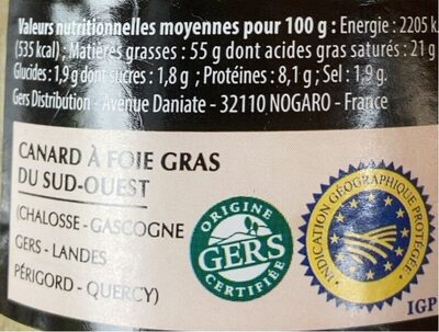 Fois gras de canard entier du gers - Voedingswaarden - fr