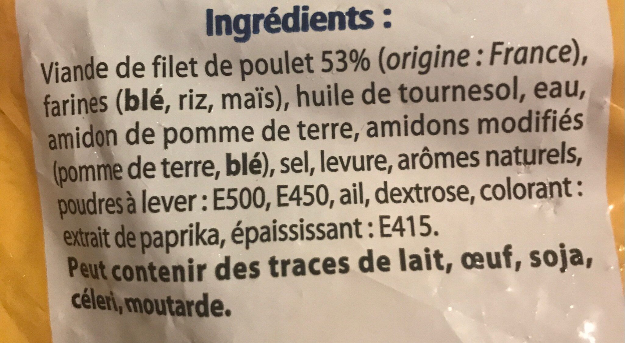 Nuggets de Poulet - Ingredients