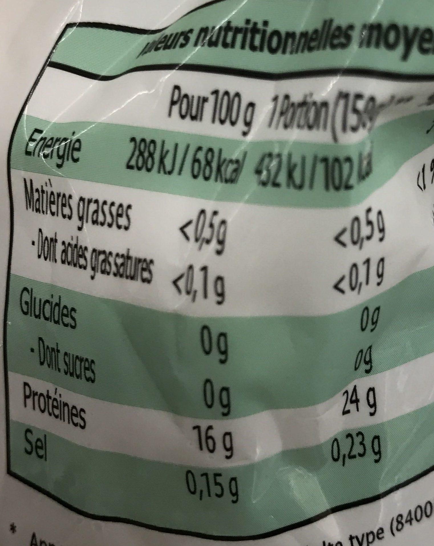 Cuisses de Grenouille Rana Macrodon - Informations nutritionnelles - fr